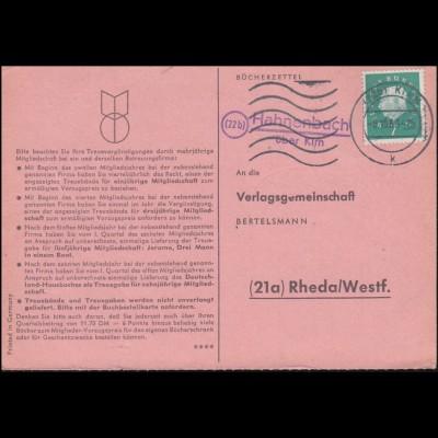 Landpost Hahnenbach über KIRN 8.10.1960 auf Bücherzettel nach Rheda/Westf.