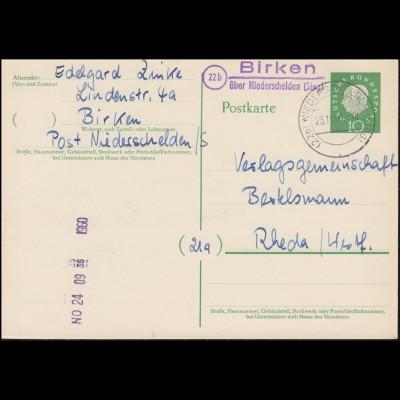 Landpost Birken über NIEDERSCHELTEN (SIEG) 23.11.1960 auf Postkarte nach Rheda