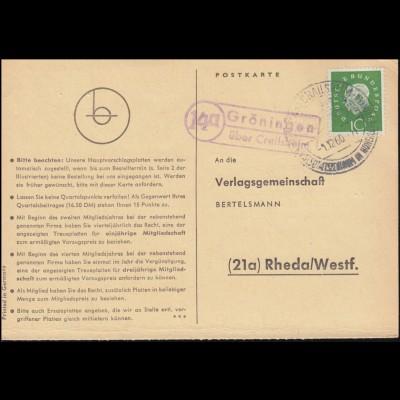 Landpost Gröningen über Crailsheim auf Postkarte SSt CRAILSHEIM 1.12.1960