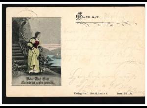 AK Liebespaar Gruss aus ... Der Abschied, M.GLADBACH 29.6.1898