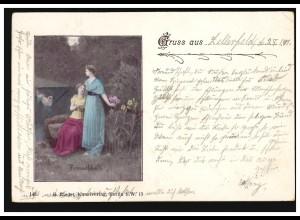 AK Gruss aus ... Freundschaft - Zwei Frauen mit Blumen, ZELLERFELD 29.1.1901