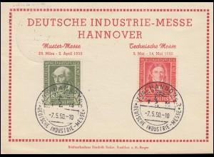 Karte Deutsche Industrie-Messe Hannover 118+119 passender SSt HANNOVER 7.5.1950