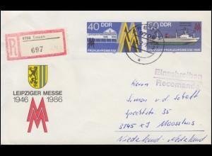 U 4 Leipziger Messe 1986 als R-Brief TREUEN 9.2.1987 nach Holland
