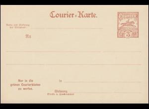 Privatpost Wuppertal Courier-Karte Barmen-Elberfeld 3 Pf. 1896, ungebraucht **