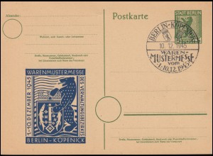 Postkarte P 1 Berliner Bär SSt BERLIN-KÖPENICK Warenmustermesse 10.12.1945
