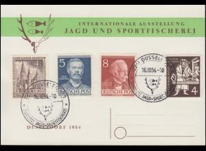 Karte Jagd und Sportfischerei Ausstellung passender SSt DÜSSELDORF 16.10.1954