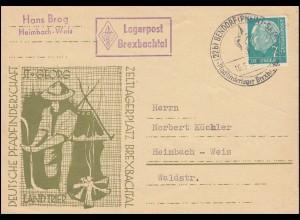 Pfadfinderschaft St. Georg Zeltlagerplatz Brexbachtal Postkarte SSt BENDORF 1956
