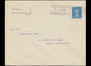 393 Goethe 25 Pf EF Brief Werbestempel Alemannische Woche FREIBURG BR. 4.5.28