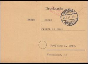 Gebühr-bezahlt-Stempel auf Postkarte MEERSBURG (BODENSEE) 28.7.47 nach Freiburg