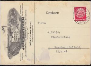470 Hindenburg 15 Pf. EF auf Auslands-PK Kaffee-Rösterei Contzen DÜREN 30.11.32
