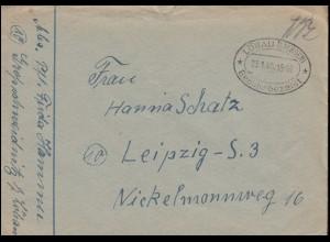 Gebühr-bezahlt-Stempel Löbau (Sachsen) 23.1.1946 auf Brief nach Leipzig