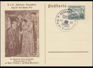 654 Schiffe WHW Schmuck-Karte Tag der Briefmarke passender SSt REGENSBURG 9.1.38