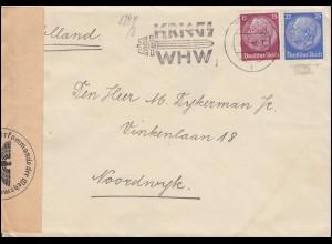 Deutsche Zensur auf Brief Hindenburg-MiF Werbestempel Kriegs-WHW FULDA 6.2.1941
