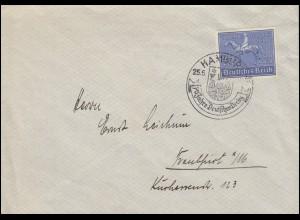 698 Deutsches Derby 1939 auf Brief mit passendem SSt HAMBURG Reiter 25.6.1939