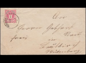46 Doppeladler mit Aufdruck auf Brief BREGENZ 15.11.1885 nach LEUTKIRCH 18.11.85