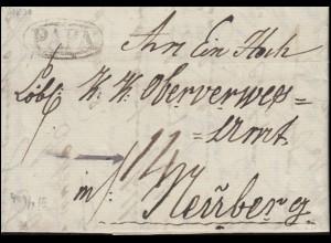 Österreich-Ungarn Faltbrief Oval-O aus PAPA 30.1.1838 an Oberverweseramt Neuberg