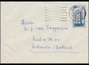 242 Europa / CEPT 40 Pf als EF auf Auslandsbrief CELLE 15.3.1957 nach Holland