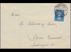 393 Goethe 25 Pf portogerechte EF Brief HAMBURG 1 - 23.12.1927 nach Dänemark