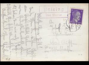 Landpost Palting über MATTSEE 1942 auf Ansichtskarte Palting O.D.