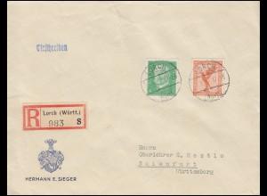 381 Flugpost + 411 Hindenburg MiF auf R-Brief LORCH 27.8.32 nach BAIENFURT 20.8.