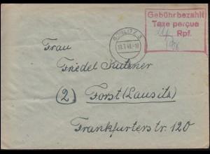 Gebühr-Bezahlt-Stempel mit Taxe percue (24) Rpf. auf Brief GÖRLITZ 19.7.1948