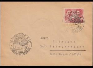 229 Liebknecht und Luxemburg 24 Pf auf Brief SSt DRESDEN Brandschutz 9.8.1949