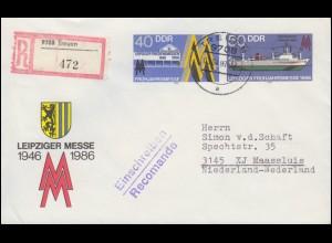U 4 Leipziger Messe 1986 als Brief per Einschreiben TREUEN 3.4.1989 nach Holland