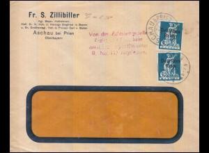 Zensur 123 Abschiedsserie mit Aufdruck als MeF Brief ASCHAU bei PRIEN 22.4.1921