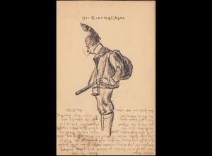 Karikatur-Ansichtskarte Der Sonntagsjäger, HAMBURG 8.9.1905