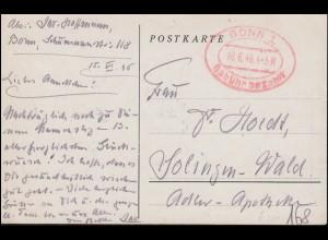 Gebühr-bezahlt-Stempel BONN 1 - 18.6.46 auf AK Insel Nonnenwerth + Siebengebirge