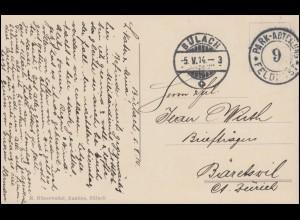 Schweiz Feldpost PARK-ABTEILUNG FELDPOST 9 auf AK Kaserne Bülach 5.5.1914