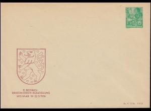 DDR Privatumschlag PU 10 Briefmarkenausstelliung WEIMAR 1956, ungebraucht **