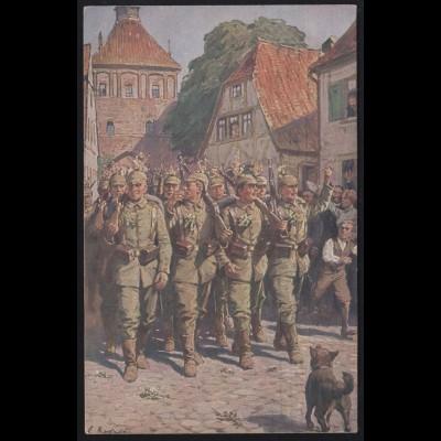 Militaria-AK A. Roloff: Ausmarsch, Wofa-Karte Rotes Kreuz, Feldpost LANDAU 1916