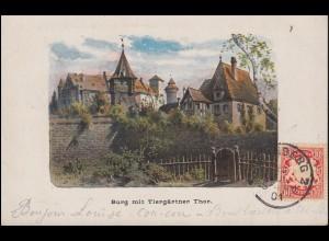 Ansichtskarte Nürnberg Burg mit Tiergärtner Tor 25.7.1901 nach MONS 26.7.01