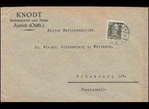 394 Lessing als portogerechte EF auf Brief AURICH 23.4.1929 nach Oldenbrug