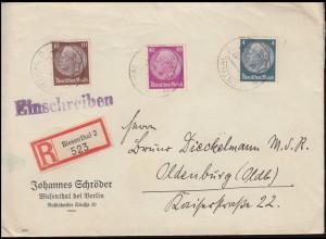 514+518+524 Hindenburg-MiF auf R-Brief BIESENTHAL nach OLDENBURG 1.8.1941