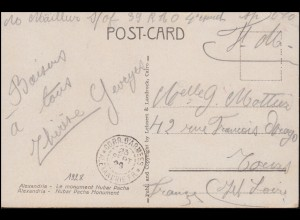 Französische Feldpost in Ägypten ALEXANDRIA 23.9.1928 auf passender AK