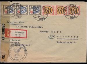 Zensur U.S. CIVIL CENSORSHIP mit Franz. Zone Allgemein R-Brief AULENDORF 23.4.46