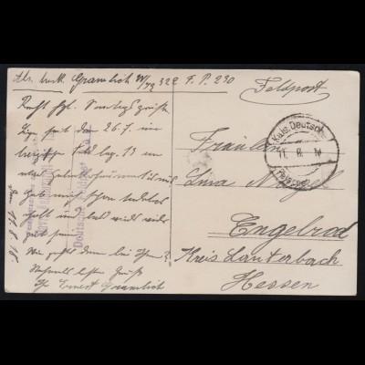 Feldpost BS Bayrisches Feldlazarett Nr.13 - 11.8.1918, AK Dorfidylle mit Kindern