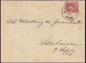 41 auf kpl. Faltbrief Fabrik für Gasmesser LEIPZIG 21.2.1887 nach Sellerhausen