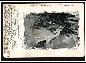 AK Liebespaar mit Madoline - Liebeszeuge Mond, OSNABRÜCK 18.7.1900