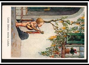 AK Kinder Engel mit Laute: Leise flehen meine Lieder, BENSHEIM 4.8.1920