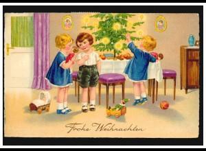 Ansichtskarte Weihnachten Kinder beim Auspacken der Geschenke, BERLIN 20.12.1938