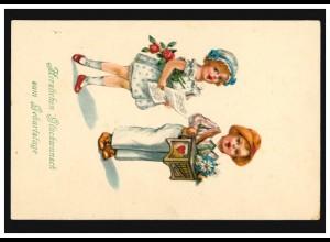 Ansichtskarte Kinder-Geburtstag Das Ständchen, SELB 1.3.1928