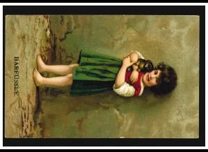 Ansichtskarte Kinder Barfüssle Mädchen mit Welpen, OSNABRÜCK 27.2.1917