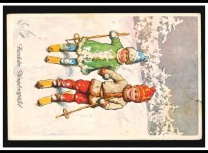 Ansichtskarte Neujahr Kinder beim Skilaufen, DRESDEN-ALTSTADT 31.12.1915