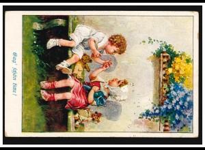 Ansichtskarte Kinder auf der Bank: Sag schön bitte, KARLSRUHE 11.12.1922