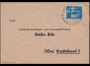 247 Wintersport 24 Pf als EF auf Brief SSt WEIMAR 700 Jahre 23.7.1950