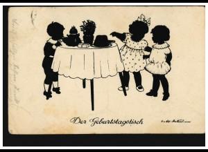 Scherenschnitt-AK Der Geburtstagstisch, Verlag G.K.V. Berlin, RHEYDT 23.6.1926