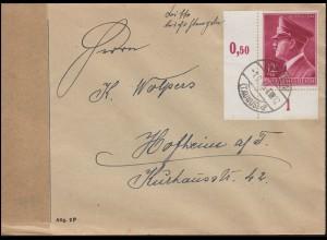 813 Geburtstag Hitlers als Ecke unten links EF Brief HOFHEIM (TAUNUS) 1.2.1945